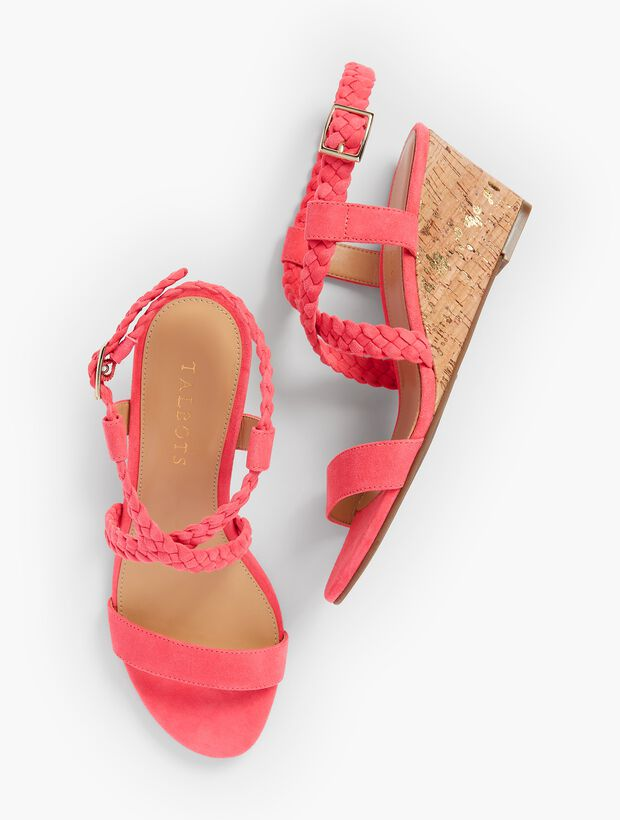 Royce Braided Suede Cork-Wedge Sandals