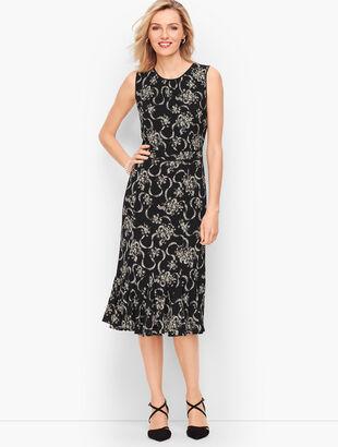 Floral Crepe Fit & Flare Dress