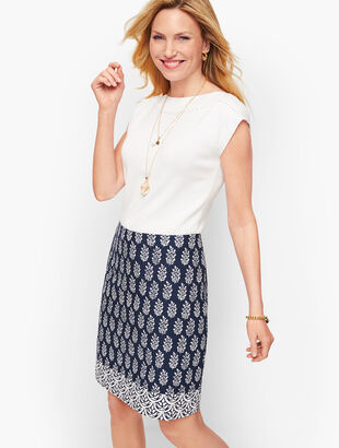 Cotton Canvas A-Line Skirt - Geo Print