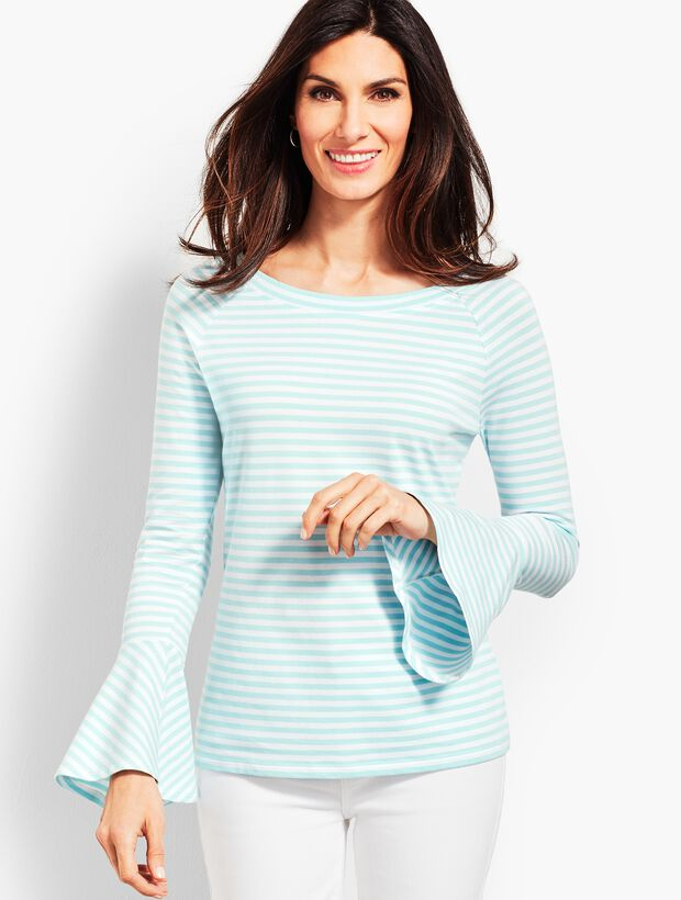 On-The-Shoulder Flared Sleeve Top - Stripe