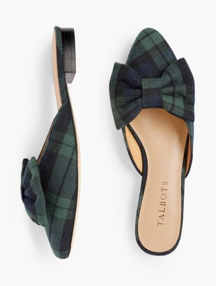 Edison Bow Mules - Black Watch Plaid