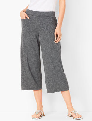 f248e33f1905e8 Heathered Terry Wide-Leg Crops