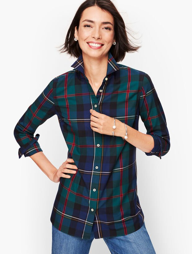 Classic Cotton Shirt - India Ink Plaid