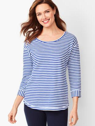 Crisscross Three-Quarter-Sleeve Tee - Stripe