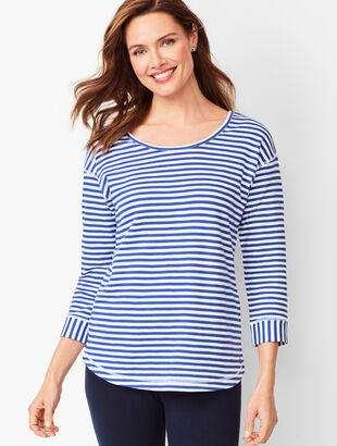 Crisscross Three-Quarter-Sleeve Tee - Stripe