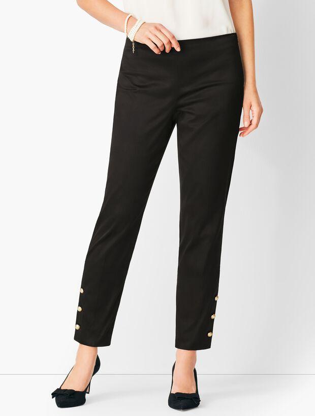 Button-Hem Sateen Slim Ankle Pant