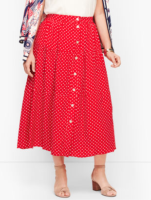 Tiered Button Front Skirt - Dot