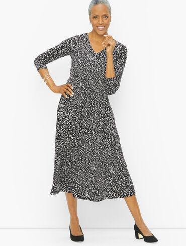 Jersey Midi Dress - Abstract Dots