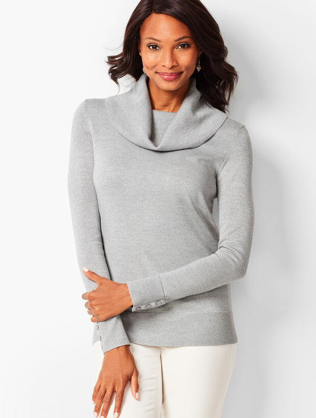 Merino Button-Cuff Cowlneck Sweater - Shimmer