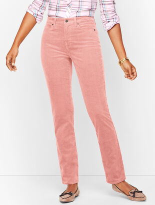 Stretch Corduroy Straight Leg Pants - Curvy Fit