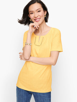 Lace Trim Split Neck Tee