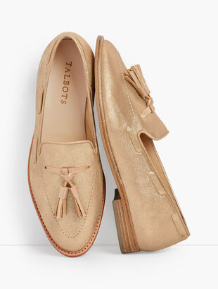 Leighton Tassel Loafers - Metallic Suede