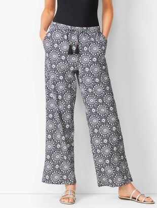 Crinkle-Cotton Beach Pants - Medallion Print