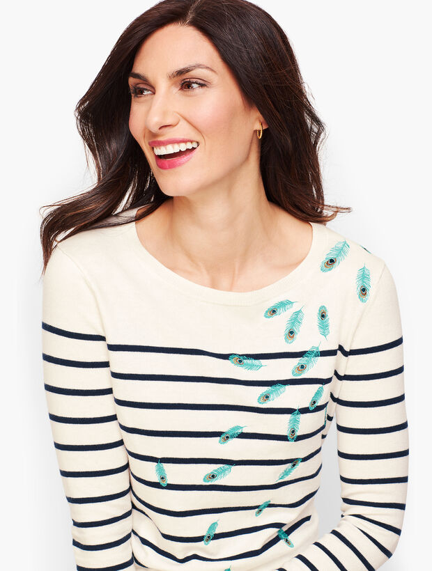 Embroidered Feathers Stripe Sweater