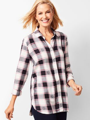 Longer-Length Button-Front Shirt - Snowflake