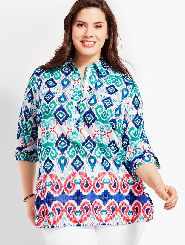 Woman Exclusive Paisley Ikat Popover