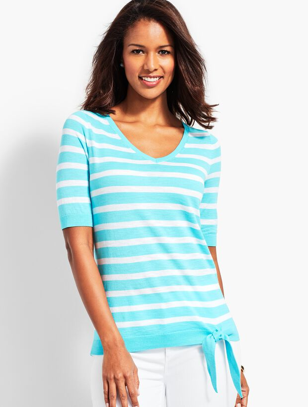 Stripe Relaxed Tie-Front Sweater