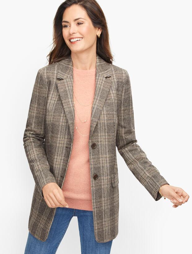 Long Wool Blend Blazer - Glen Plaid