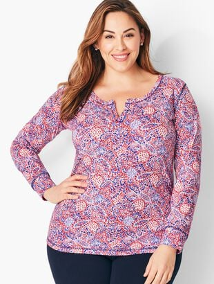 Paisley Split-Neck Tee