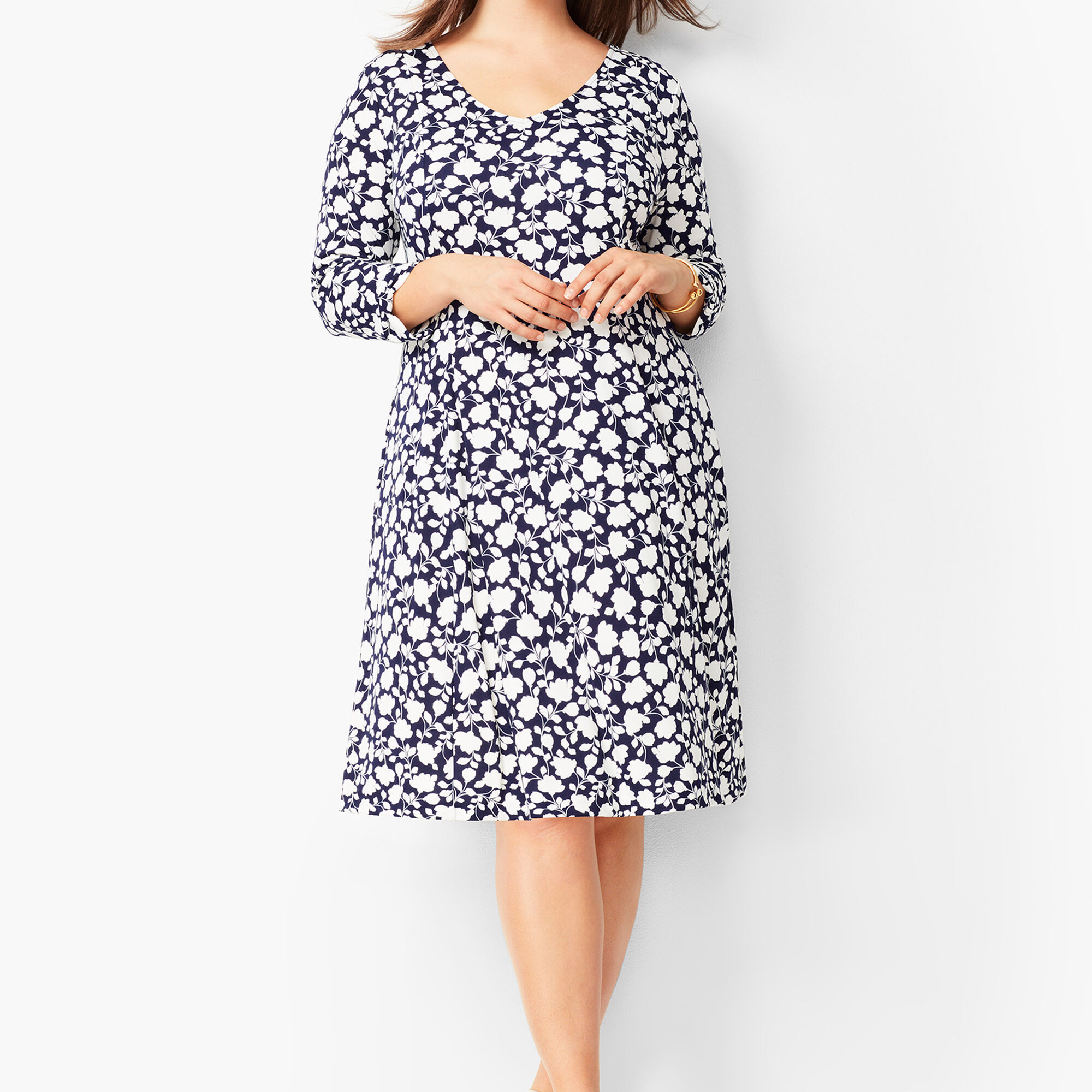 Plus Size Knit Jersey Fit & Flare Dress - Floral