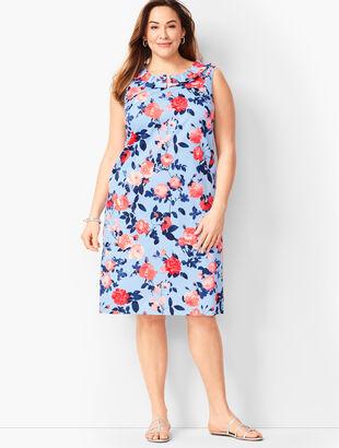 Pleat-Neck Sheath Dress - Floral