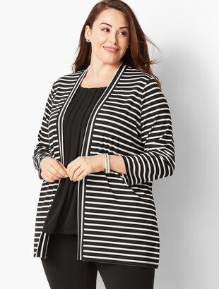 Plus Size Knit Jersey Open Cardigan - Derby Stripe