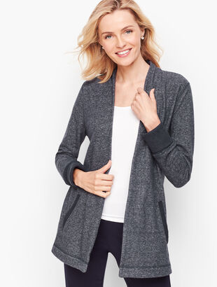 Heathered Fleece Open Cardigan