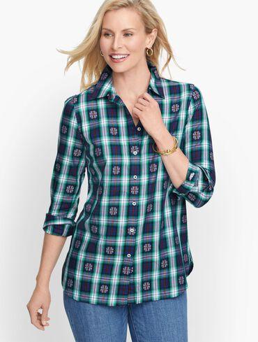 Classic Cotton Shirt -  Snowflake Jacquard Plaid