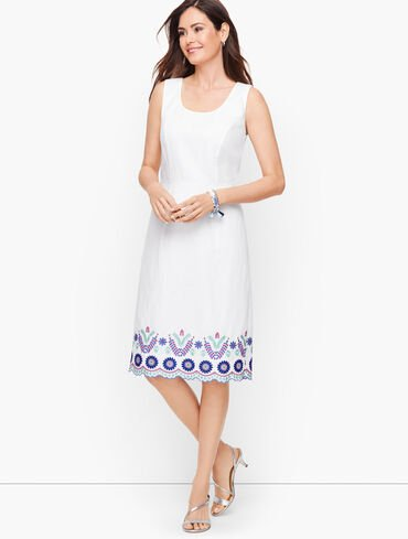 Floral Embroidery Linen Shift Dress