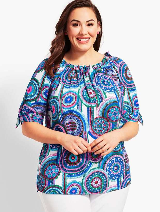 Woman Exclusive Off-The-Shoulder Top-Berry Medallion