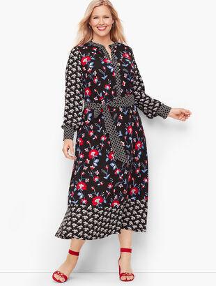 Mixed Floral Crepe Dress