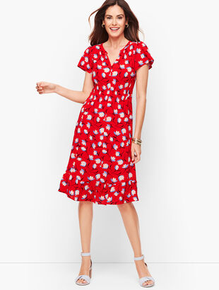 Flounce Hem Dress - Floral
