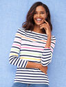 Cotton Bateau-Neck Tee - Multi-Color Stripe