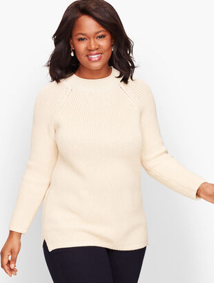 Cotton Shaker Stitch Roll Neck Sweater