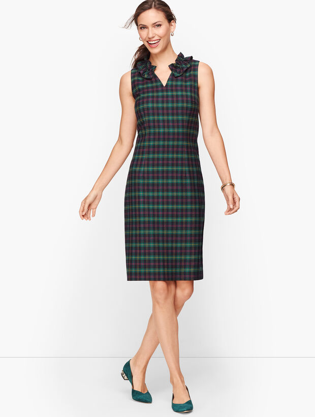 Split Neck Talbots Tartan Shift Dress