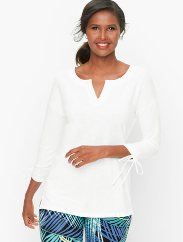 French Terry Split Neck Pullover