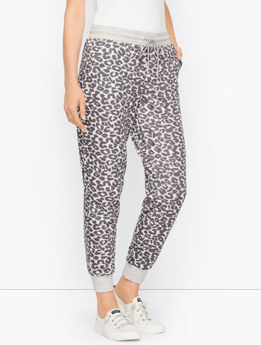Classic French Terry Jogger Pants - Abstract Cheetah
