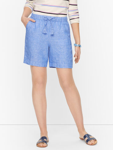 Washed Linen Beach Shorts - Cross Dyed