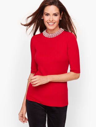 Embellished Neckline Sweater