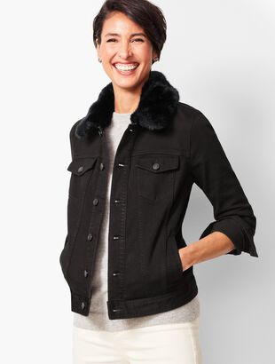Faux-Fur Collar Jean Jacket