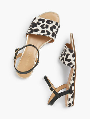 Daisy Micro-Wedge Sandals - Leopard