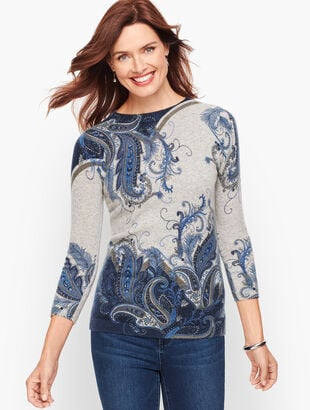 Cashmere Audrey Sweater - Feather Paisley