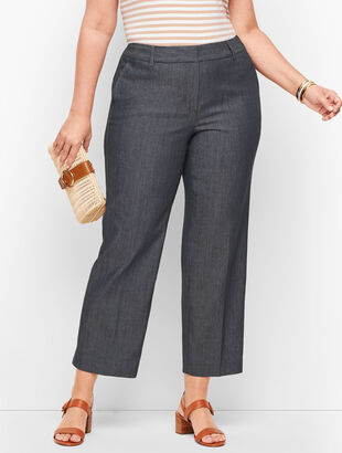 Straight Leg Crop Pants - Polished Denim