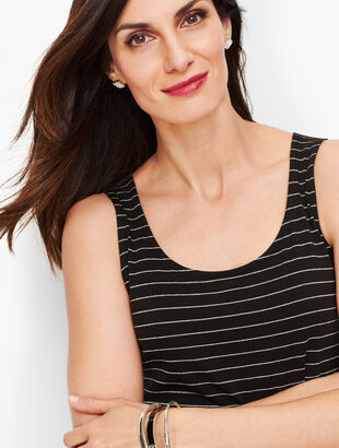 Pima Cotton Blend Tank - Shimmer Stripe