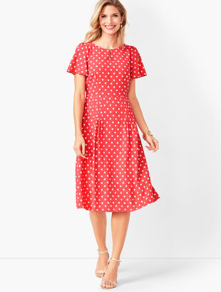 Ikat Dot Fit & Flare Dress
