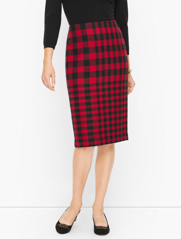 Bicolor Plaid Pencil Skirt