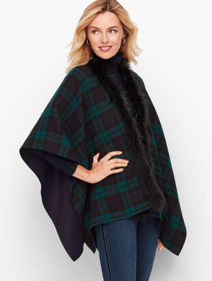 Faux Fur Trim Black Watch Plaid Ruana
