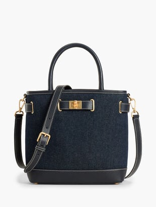 Leather-Trim Tote Bag - Denim