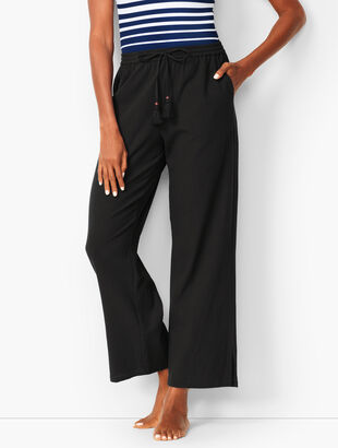 Crinkle-Cotton Beach Pants - Solid