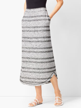 Curved-Hem Stripe Knit Skirt